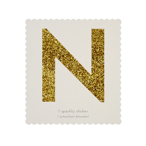 Стикер N, мерцающее золото