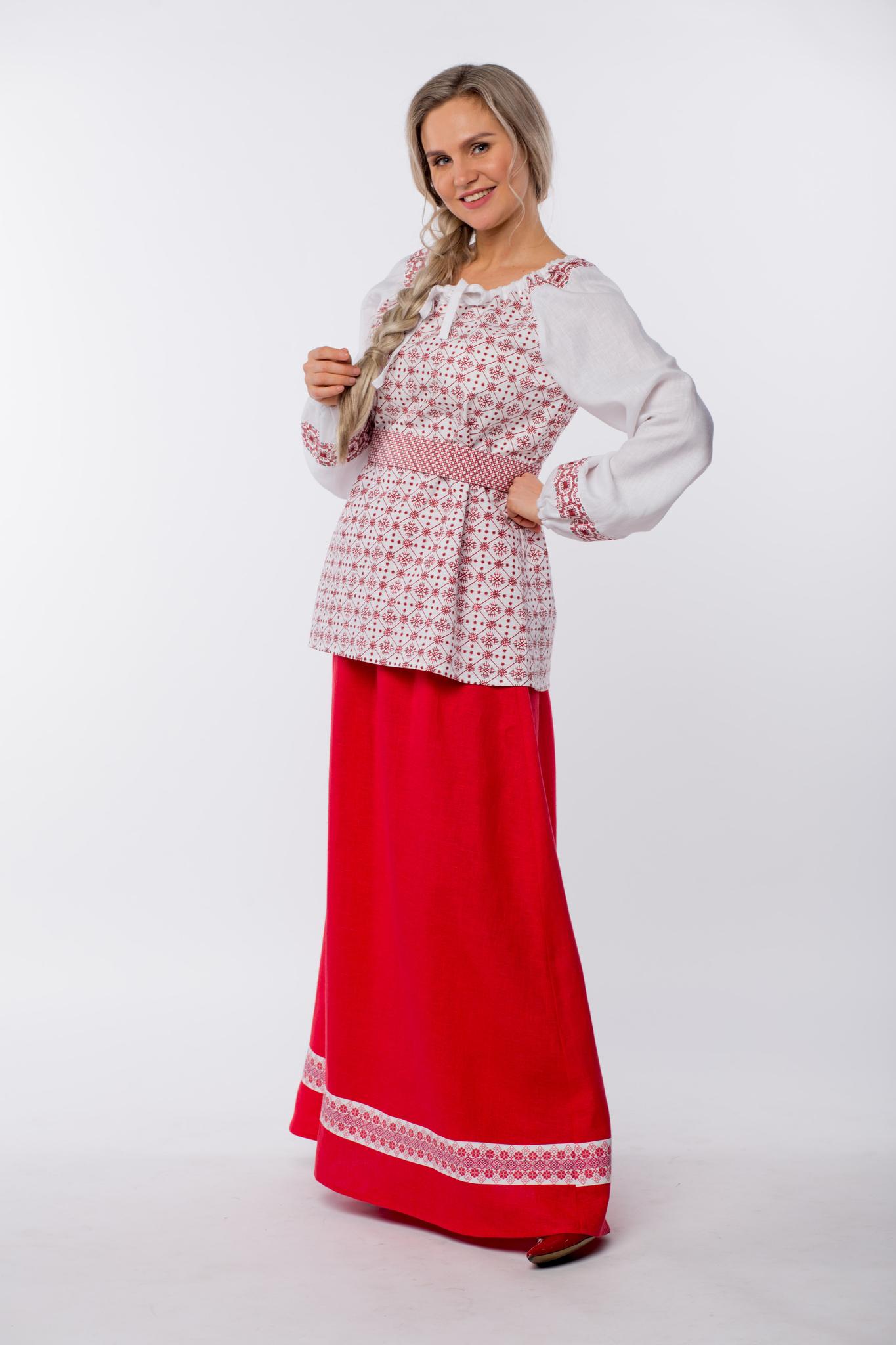 Блуза льняная Макошь на белом вид сбоку