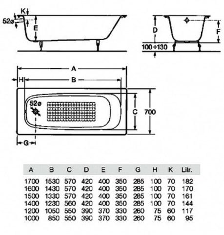 Чугунная ванна Roca Continental 150x70см. 21290300R схема