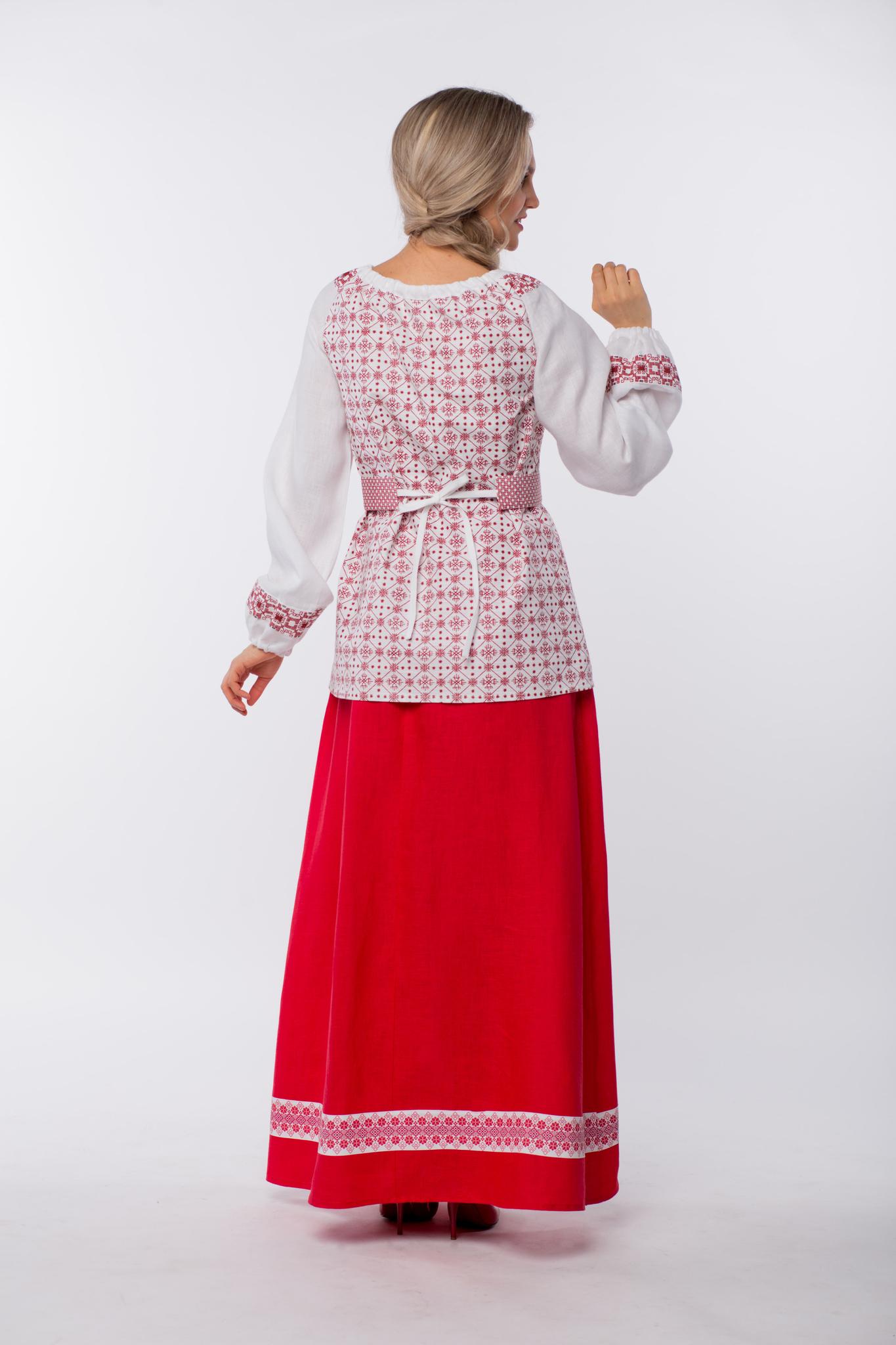 Блуза льняная Макошь на белом вид сзади