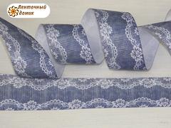 Лента репсовая Кружево на потертом джинсе 38 мм