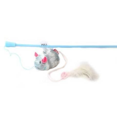 NEMS дразнилка для кошки мышка с перьями и чипом