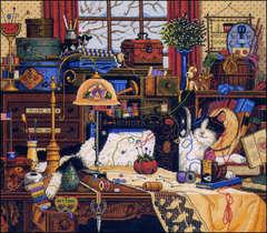 DIMENSIONS Кот в швейной комнате/Мэгги рукодельница (Maggie The Messmaker)