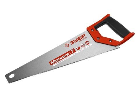 Ножовка универсальная (пила) ЗУБР МОЛНИЯ-7 400 мм, 7 TPI, закалка, рез вдоль и поперек волокон, для средних заготовок, фанеры, ДСП, МДФ