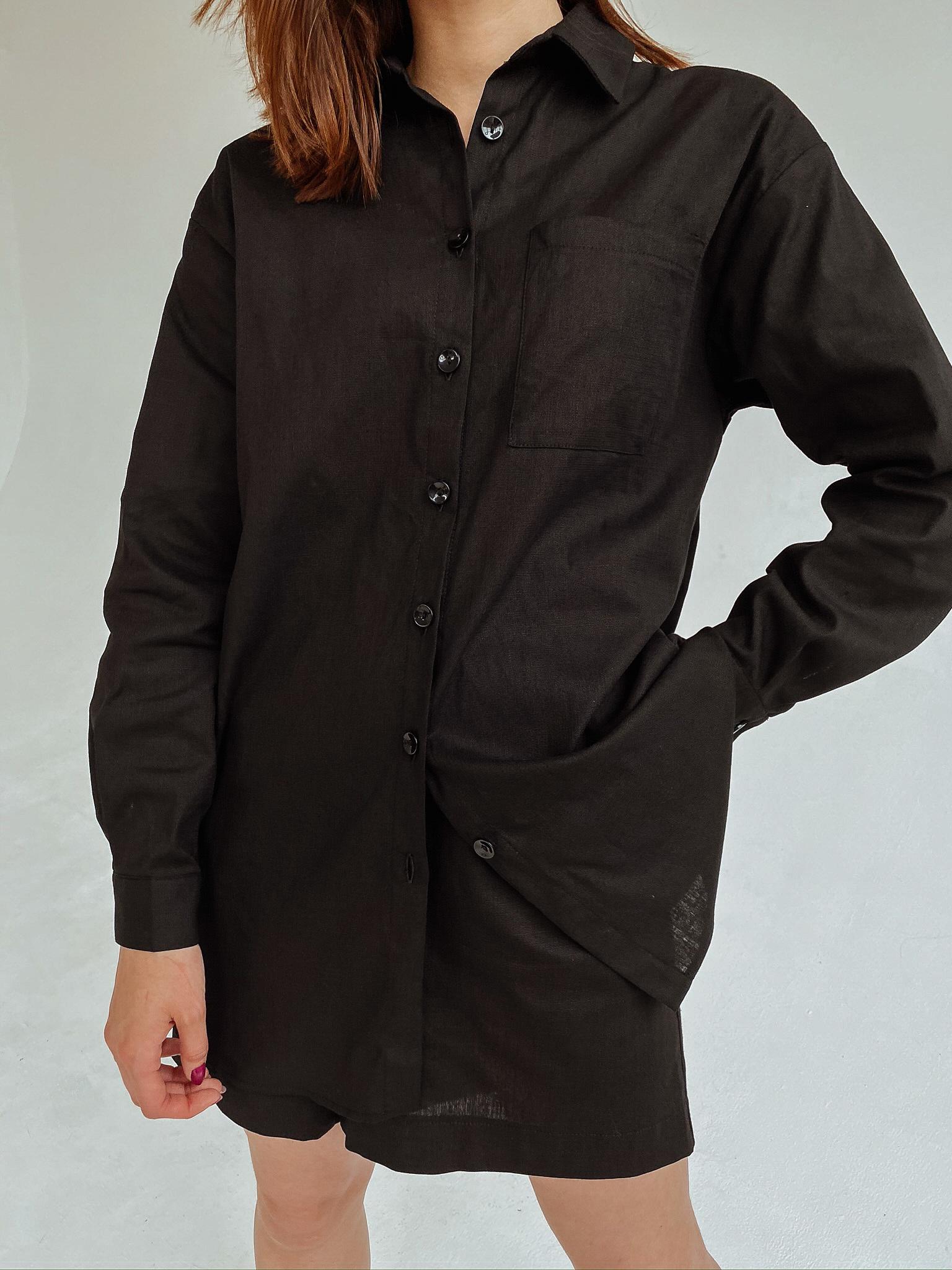 Рубашка oversize (лен) (черный)
