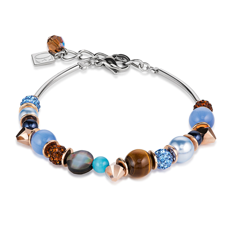 Браслет Coeur de Lion 4864/30-0711 цвет коричневый, голубой, чёрный