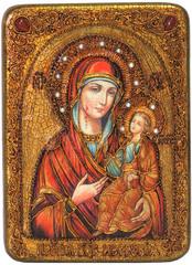 Инкрустированная икона Образ Божией Матери Иверская 29х21см на натуральном дереве в подарочной коробке