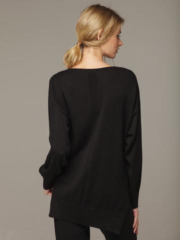 Черный джемпер из шёлка и кашемира, с квадратной линией проймы - фото 4