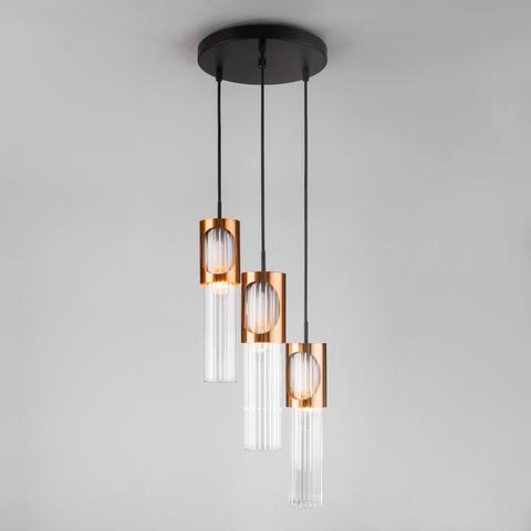 Подвесной светильник со стеклянными плафонами 50087/3 черный/бронза