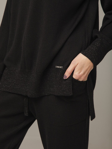 Черный джемпер из шёлка и кашемира, с квадратной линией проймы - фото 3