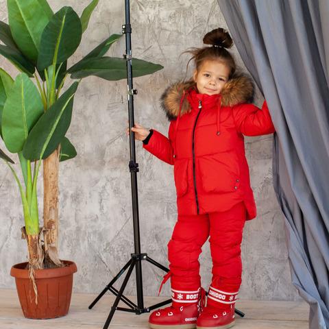 Детский зимний костюм красного цвета из водоотталкивающей плащевки