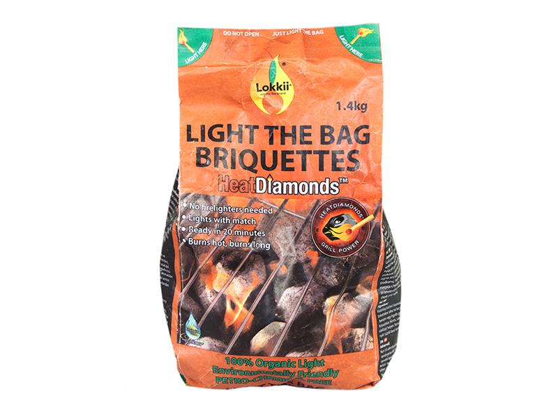 Аксессуары для грилей и  барбекю Брикеты эко-угольные Lokkii Light the bag 1.4 кг 1.png