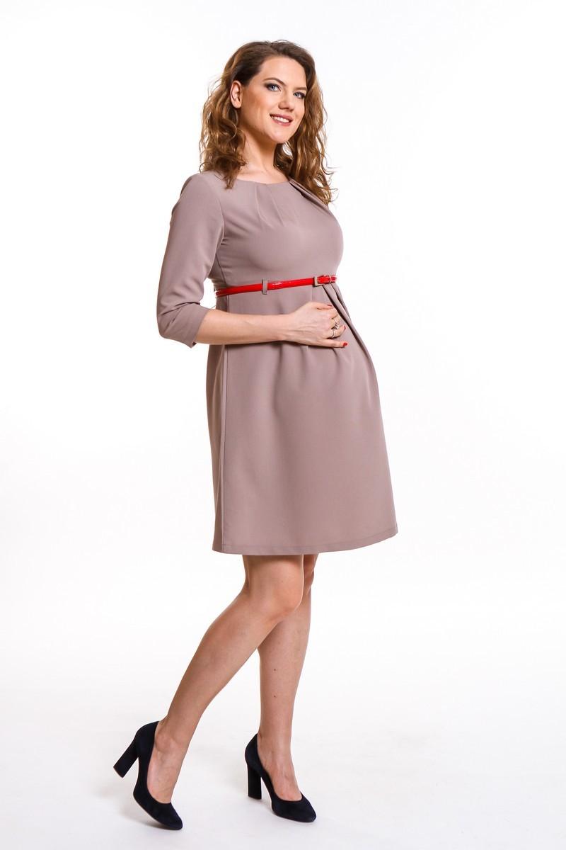 Фото платье для беременных Magica bellezza, классическое от магазина СкороМама, коричневый, светлый, размеры.