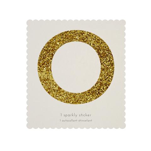 Стикер O, мерцающее золото