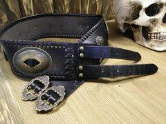 Ремень-пояс женский кожаный, чёрный