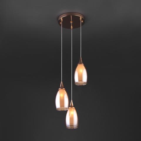 Подвесной светильник со стеклянным плафонами 50085/3 золото