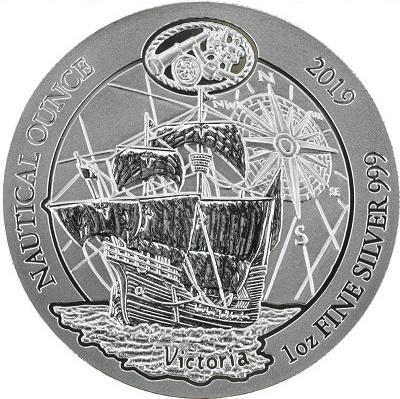50 франков. Корабль парусник. Виктория Морская унция. Руанда. 2019 год. BrUNC