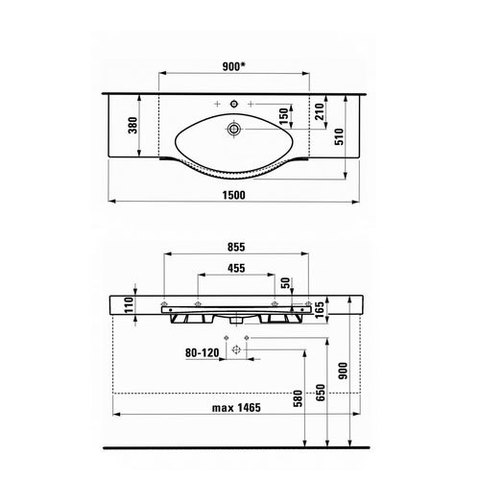 Раковина подвесная Laufen Palace NEW 150х51х16см. с полотенцедержателем 1270.6.000.104.1 схема
