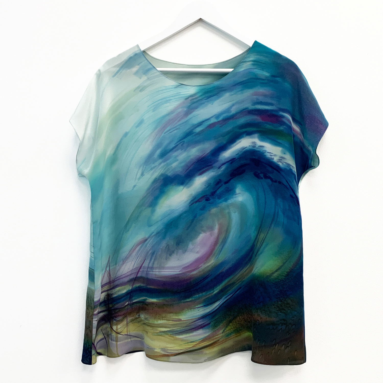 Шелковая блузка батик Волна