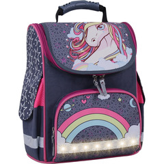 Рюкзак школьный каркасный с фонариками Bagland Успех 12 л. серый 511 (00551703)