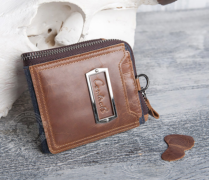 WL278-2 Необычное мужское портмоне из кожи с дополнительным отделением