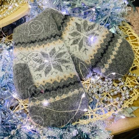 Варежки шерстяные вязаные Большая Снежинка (цвет: тёмно серый)