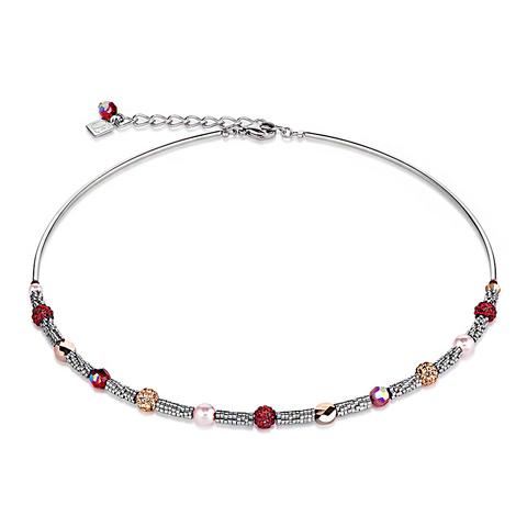 Колье Coeur de Lion 4867/10-0321 цвет серебряный, розовый, красный, бежевый