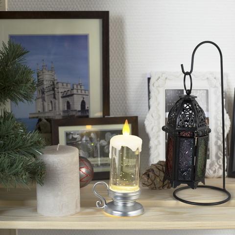 Свеча настольная Фигура световая с моргающим пламенем и блёстками (цвет подставки: серебристый 15х7х7 см)