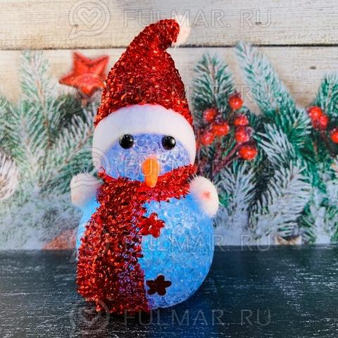 Снеговик светящийся мигающий игрушка новогодняя Красный Блестящий