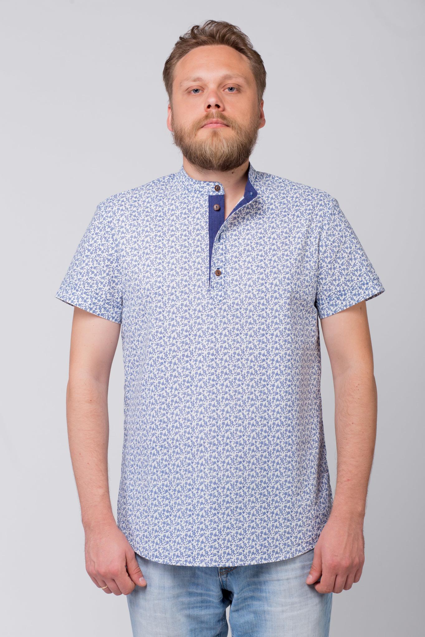 Рубашка льняная Енисейская с расстёгнутым воротом