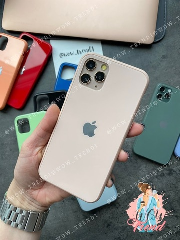 Чехол iPhone 11 Pro Glass Pastel color Logo /pink sand/