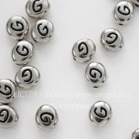 "Бусина овальная TierraCast ""Буква G"" 7х6х3 мм (цвет-античное серебро)"
