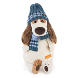 Пес Бартоломей в голубой шапке и шарфе купить