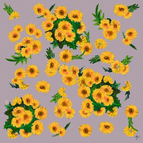 Шелковый платок Солнечный луг