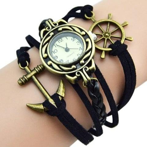 Часы-браслет с якорем и штурвалом (черные)