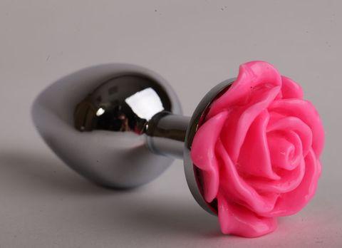 Серебристая анальная пробка с розовой розочкой - 8 см.