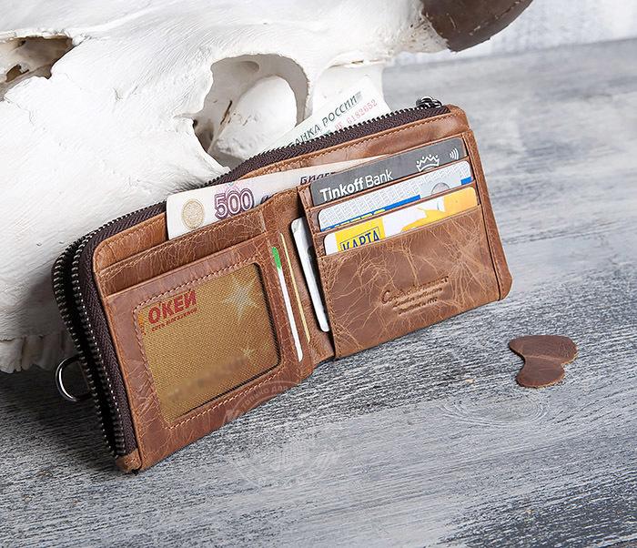 WL278-2 Необычное мужское портмоне из кожи с дополнительным отделением фото 05