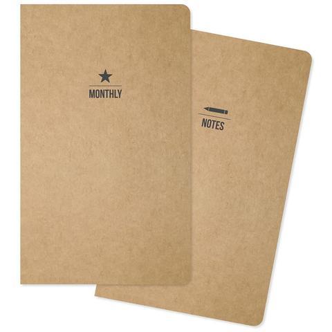 Комплект внутренних блоков  (13х21 см ) для блокнотов -2 шт- Carpe Diem Traveler's Notebook Inserts- One Monthly/One Lined