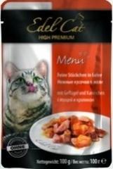 Пауч для кошек Edel Cat нежные кусочки в желе, птица, кролик