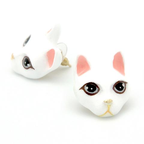 Серьги Кошка (Белая)