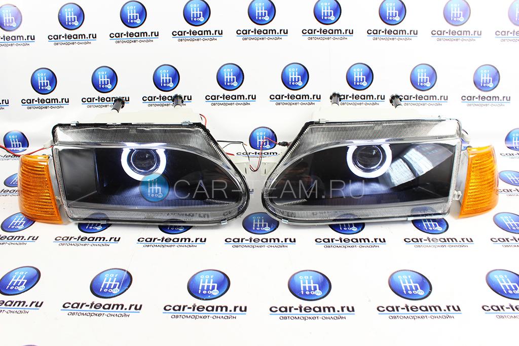 Фары передние с би-линзой и ангельскими глазками на ВАЗ 2113, 2114, 2115