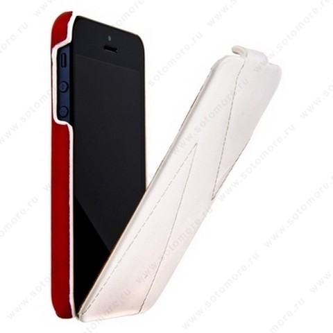 Чехол-флип HOCO для iPhone SE/ 5s/ 5C/ 5 - HOCO Mixed color Leather Case H White&Red