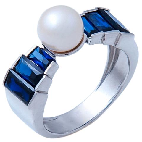 Кольцо с жемчугом и сапфиром Арт.1072сж