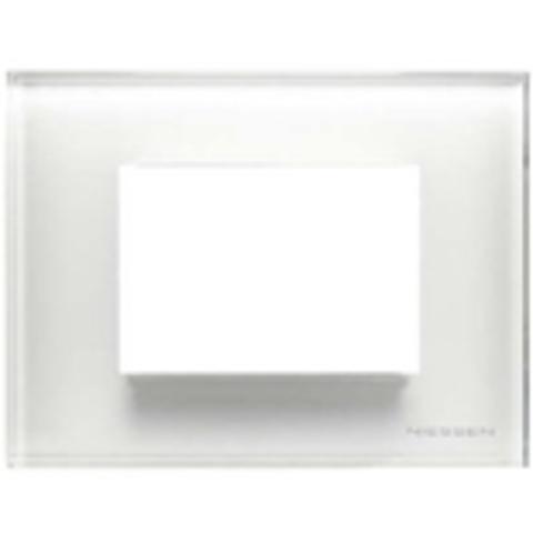 Рамка на 1 пост - 3 модуля, итальянский стандарт. Цвет Стекло белое. ABB(АББ). Niessen Zenit(Ниссен Зенит). N2473 CB