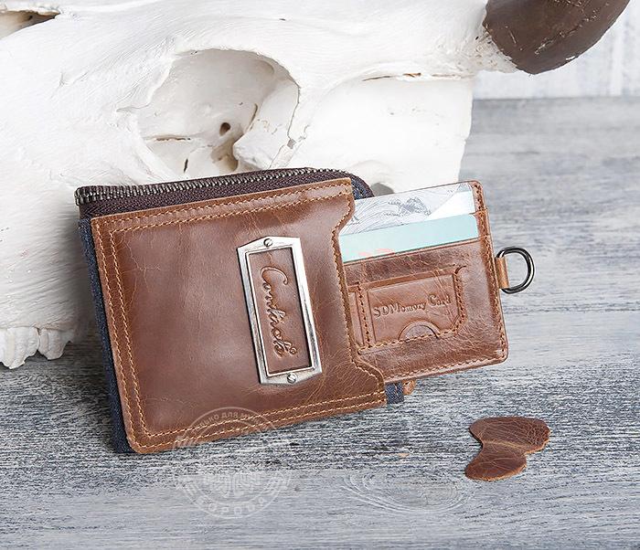 WL278-2 Необычное мужское портмоне из кожи с дополнительным отделением фото 10