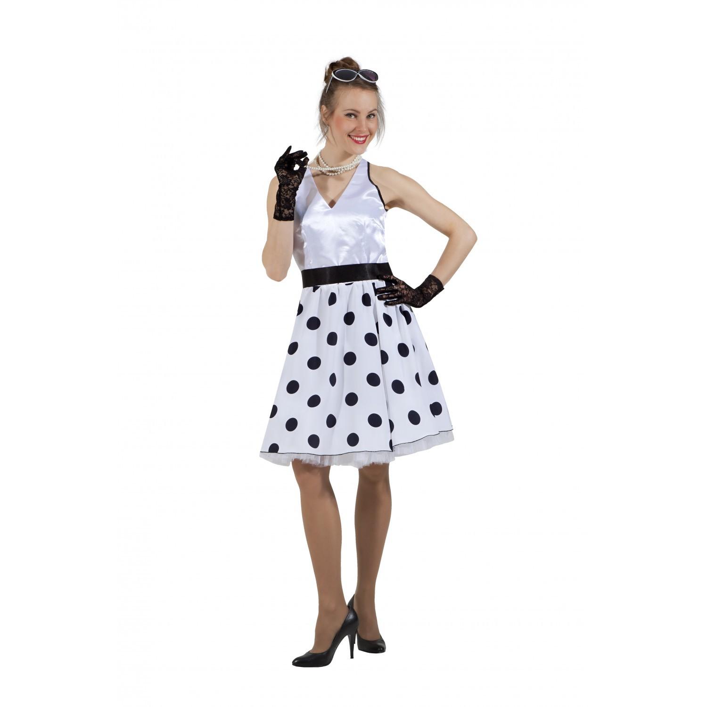 Платье в стиле 50-х черный горох и белый верх