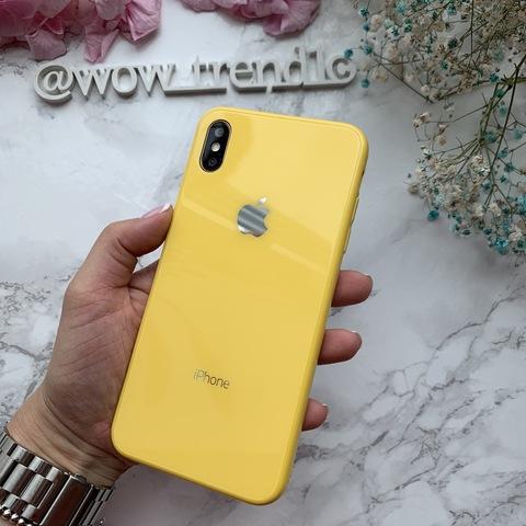Чехол iPhone XS MAX Glass Full color Case Logo /yellow/