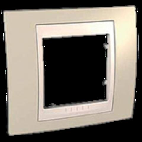 Рамка на 1 пост. Цвет Песчаный/Белый. Schneider electric Unica Хамелеон. MGU6.002.867