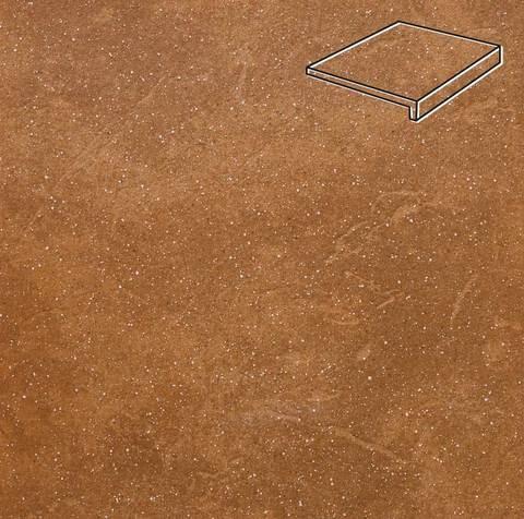 Stroeher - Keraplatte Roccia 839 ferro 294x175x52x10 артикул 4817 - Клинкерная ступень, прямой угол