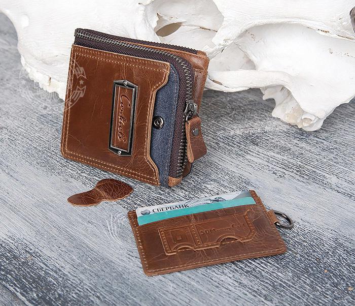 WL278-2 Необычное мужское портмоне из кожи с дополнительным отделением фото 12